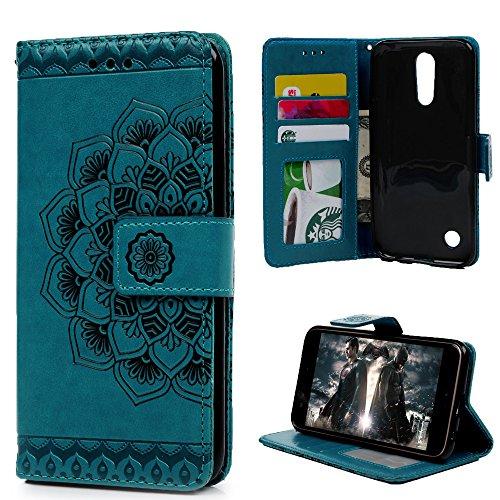 LG K20 Plus Case, LG K20 V Case,LG K10 (2017 Release) case,LG Grace LTE case Wallet Case Embossed Half Mandala Flower Pattern Premium PU Leather Soft TPU Inner Bumper Cover by MOLLYCOOCLE,Blue