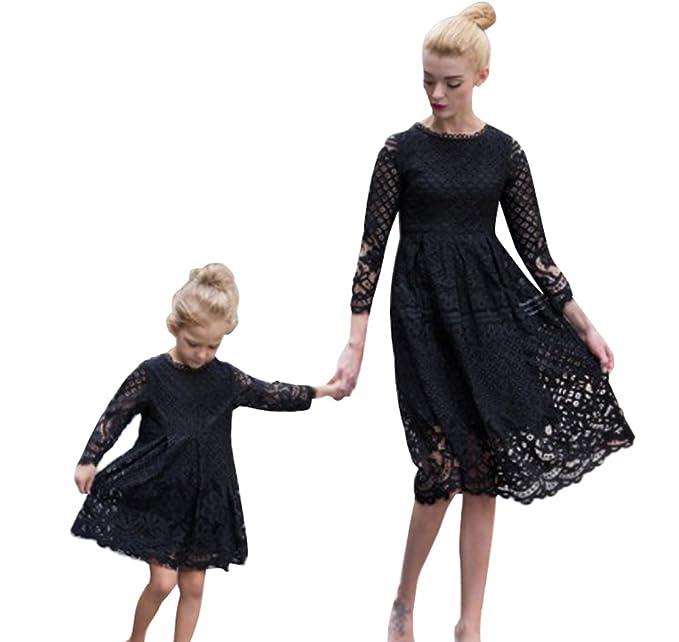 Minetom Kleid Mutter Und Tochter Atmungsaktiv Beiläufig Langarm Knielang Mode Spitze Hohl Kleid Beiläufige Familie Kleidung Mädchen