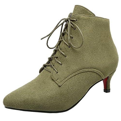 5f3a9d90a RAZAMAZA Botines con Cordones Mujer Mini Tacon Botas  Amazon.es  Zapatos y  complementos