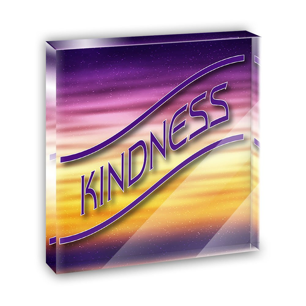 Kindness Gold Purple Waves Clouds Acrylic Office Mini Desk Plaque Ornament Paperweight