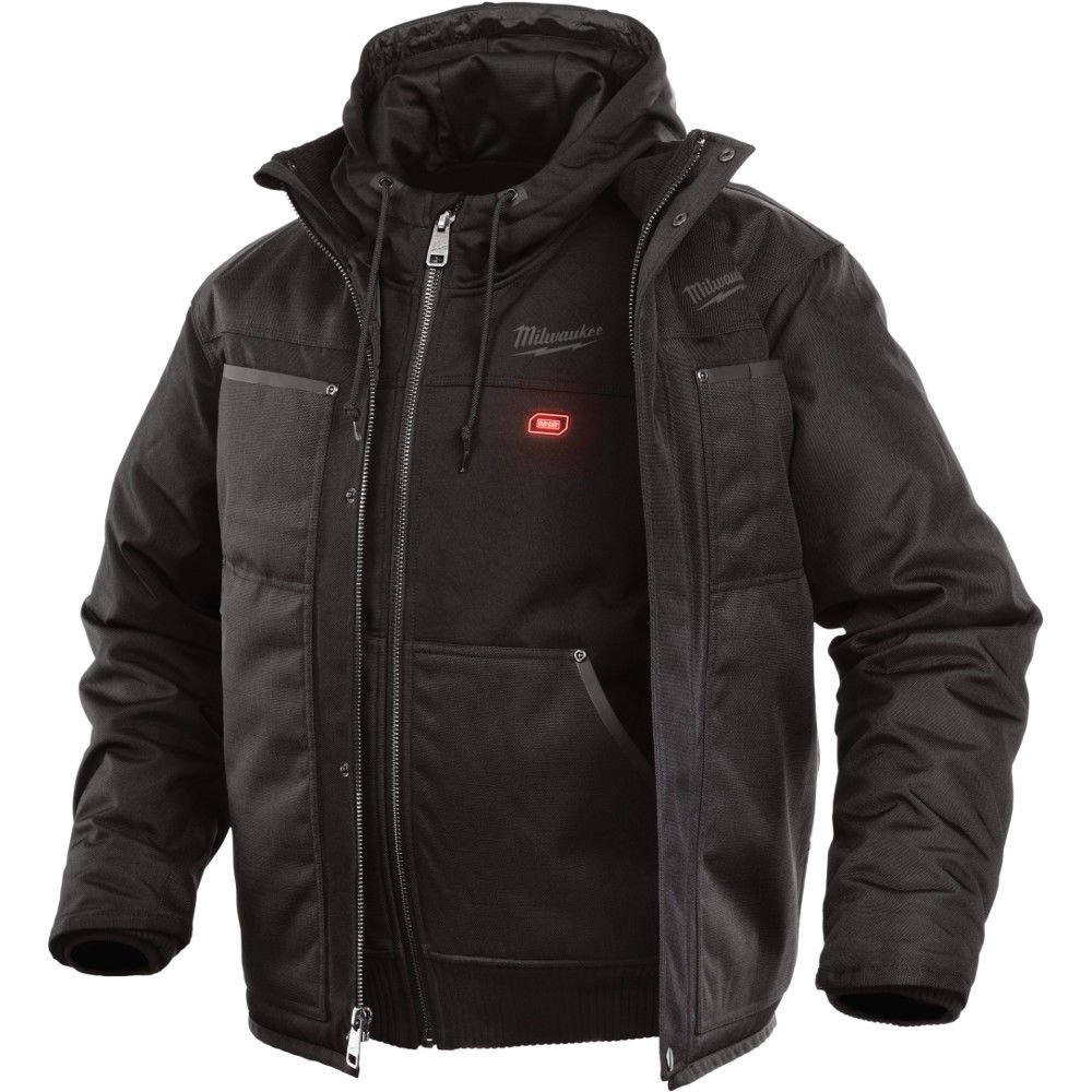 Milwaukee Hoodie M12 12V Lithium-Ion Heated Jacket Front and Back Heat Zones - Battery Not Included - All Sizes and Colors (Large, Black 3-in-1)