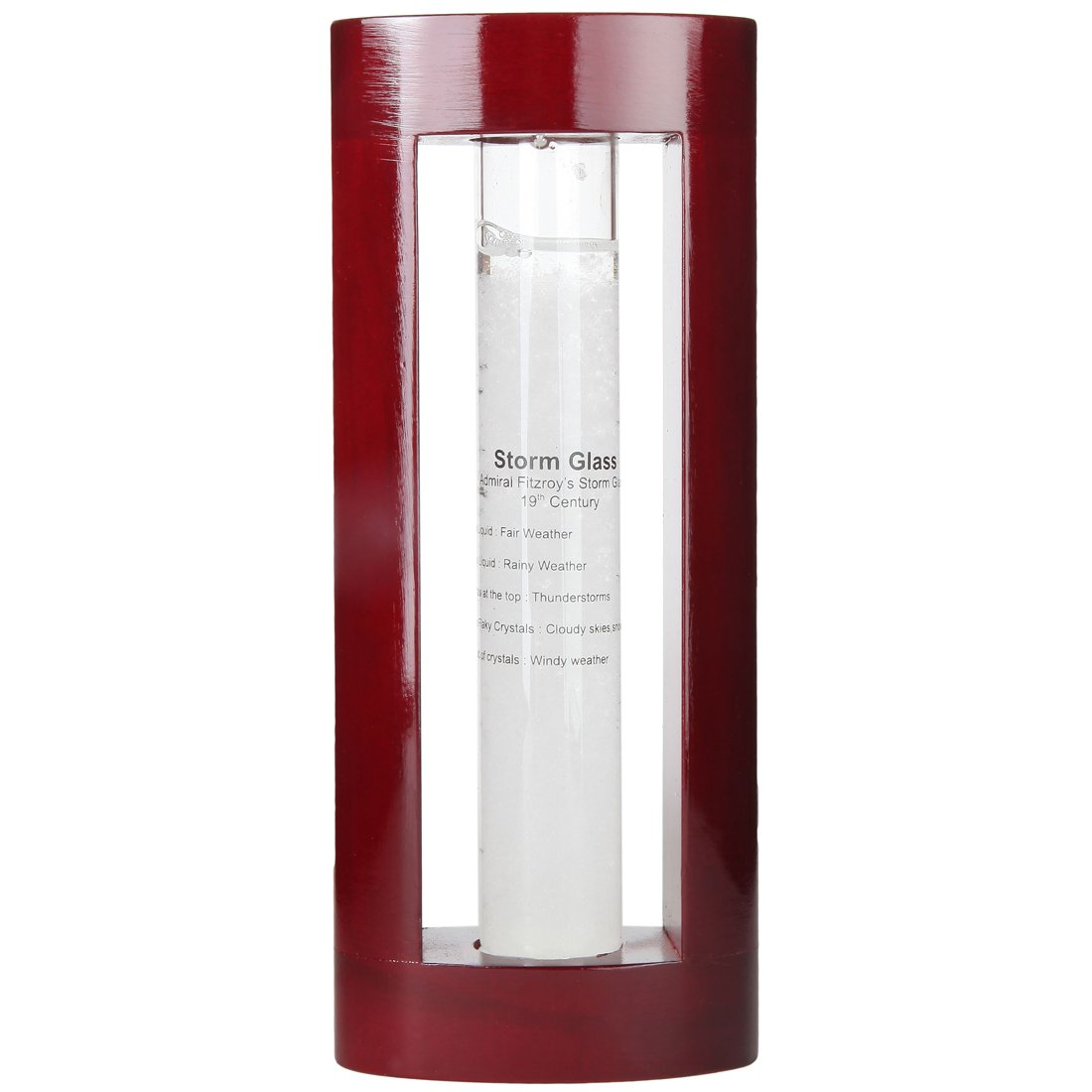 "Lily's Home Admiral FitzRoy's Storm Glass Weather Prediction Station, Predicts Weather Changes and Patterns, Elegant Gift and Desktop Piece, Includes Cherry Finished Wood Frame (7"" Tall)"