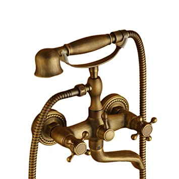Beelee Wall Mount Tub Faucet With Hand Shower Clawfoot Tub Brass