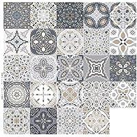 panthem 24 stuks tegelstickers, mozaïek, plakfolie, tegels, zelfklevend, decoratief voor keuken en badkamer, 10 x 10 cm