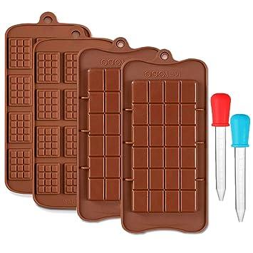 CKANDAY 4 piezas molde chocolate,con 2 goteros líquidos claros graduados,2 estilos de moldes de bandejas para hornear barras de energía y barras de energía ...