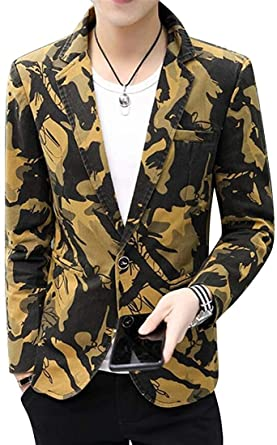 mydeshop Mens Lapel Collar Casual Fashion Camouflage Single Button Slim Fit Blazer Jacket Coats Gray X-Large