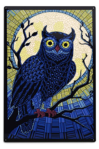 Owl - Paper Mosaic Aluminum Wall Sign, Wall Decor Ready to Hang)