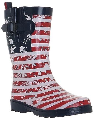 Capelli New York Shiny American Flag Print Ladies Rain Boots  B01E986NNG
