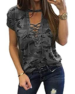 7b03f899fdcea7 Women s Short Sleeves Camouflage Lace-up Casual Top Sexy Hollow Lace Up  Shirt