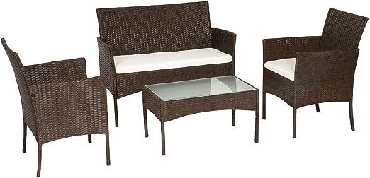 Conjunto Corfou de sillas y Mesa para jardín para 4 plazas, en Resina Trenzada con Cojines, marrón y Blanco: Amazon.es: Jardín