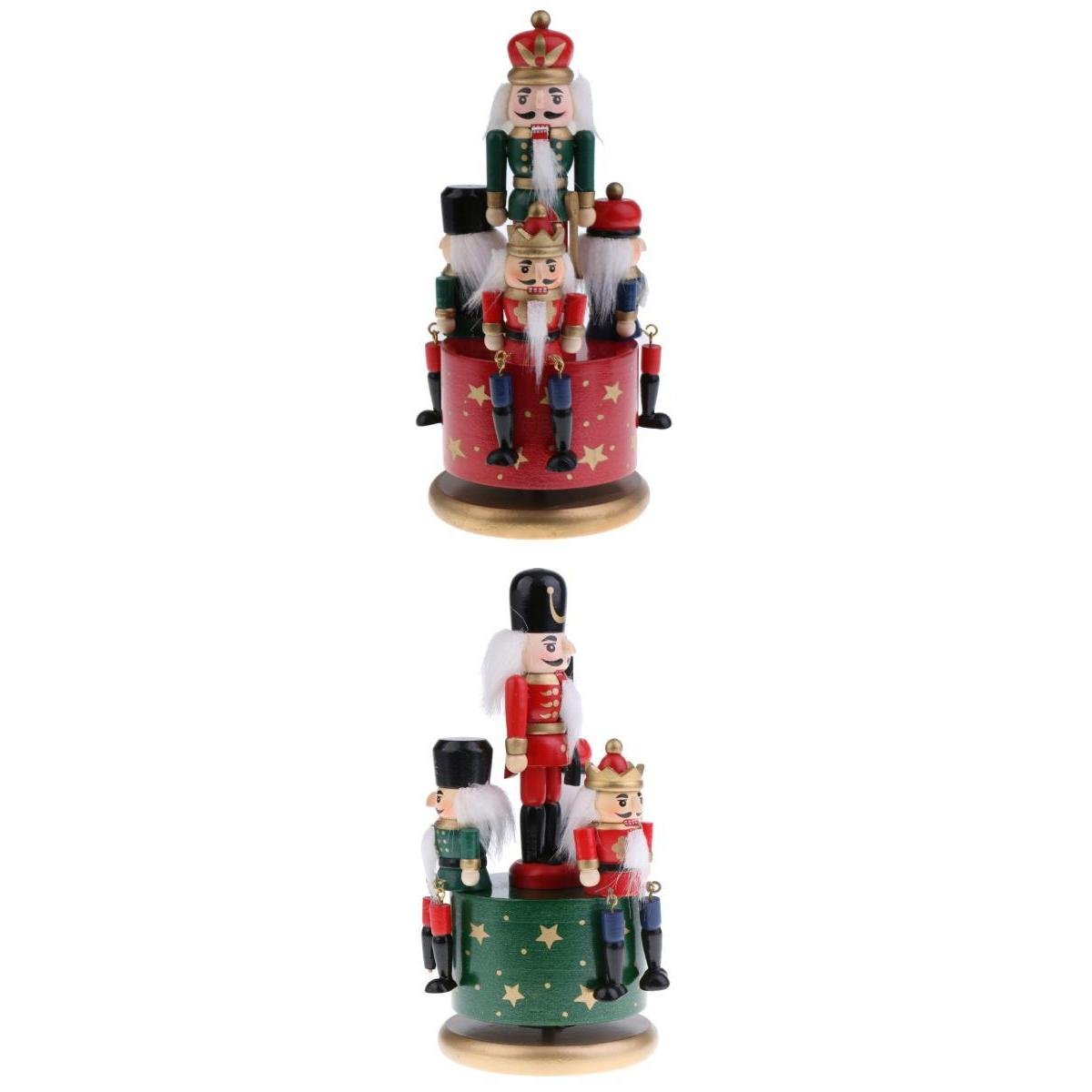 Fenteer 2 Pcs Schiaccianoci Soldato Dipinto a Mano Custodia Musica Ornamento Decorazione Natalizie Regali Natale Legno 20cm