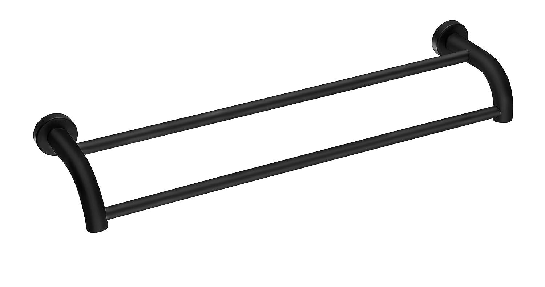 Toallero con Barra Doble para Toallas de Acero Inoxidable SUS304 de Pared Negro 60cm Eridanus Estante de Toallas