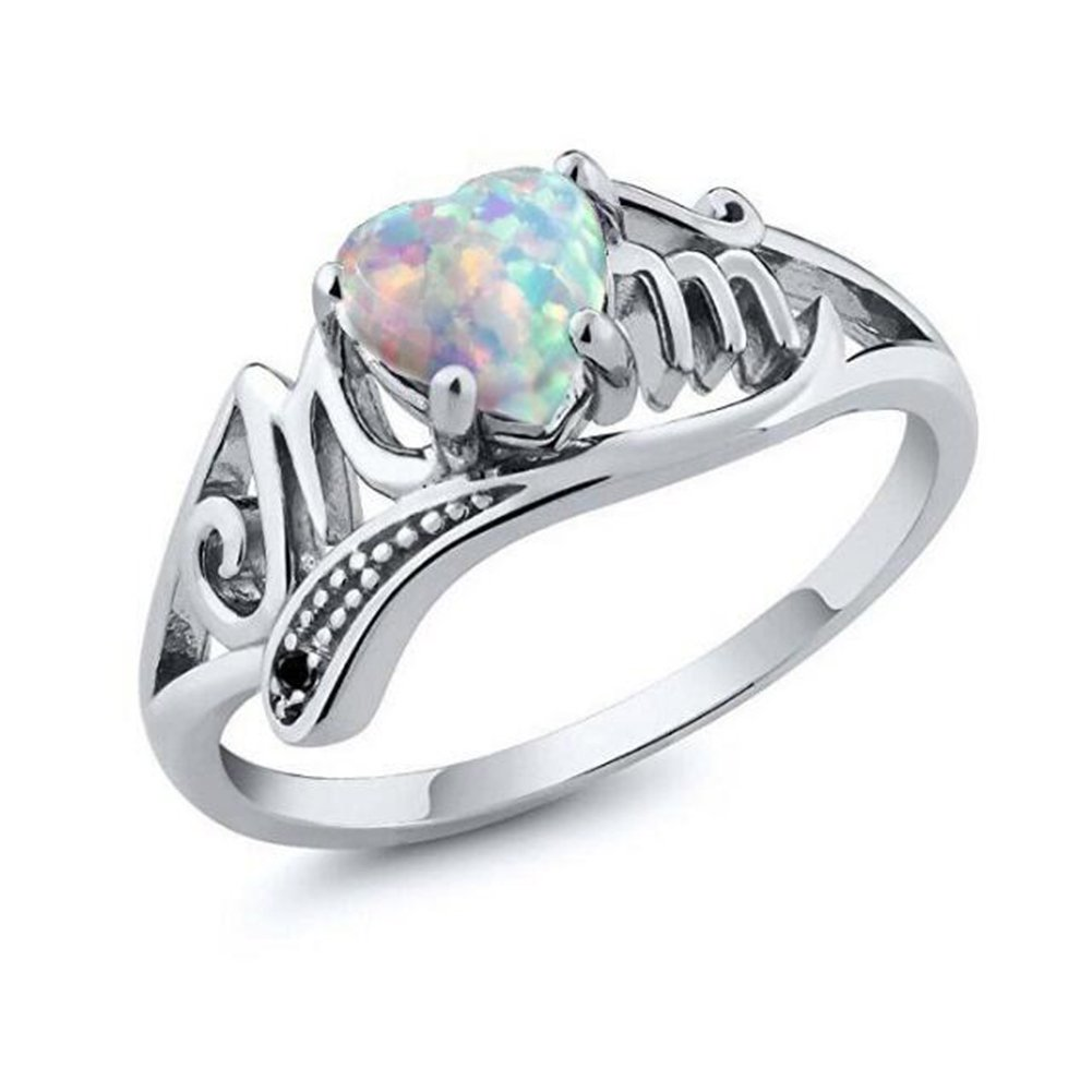 TEMEGO Australian Opal Ring Silver White Gold Plated Heart Love MOM Ring Mom's Birthday by TEMEGO (Image #1)