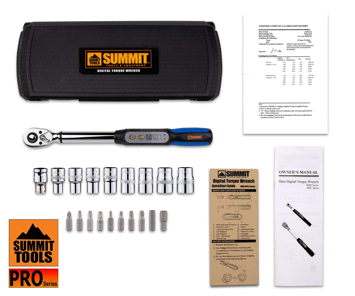 Summit Tools Mini Digital Torque Wrench (DPS3-085CN-S) with Socket Set, 3/8-in Driver, 2.2-62.7 ft-lbs, Peak Hold, LCD Display, Non Slip Grip, Bike Tool Set with Storage Case by Summit Tools (Image #6)