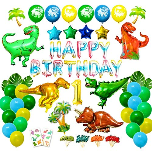 First Dino Kit - Ajworld Dinosaur Party Supplies Dino Birthday Party Decorations Kit for Kids Birthday Party, First Birthday with Latex Foil Balloons Tropical Palm Leaves Tattoo and Cupcake Toppers(96Pieces)