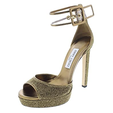 fa257d74bed JIMMY CHOO Womens Mayner Metallic Open-Toe Heels Gold 36.5 Medium (B