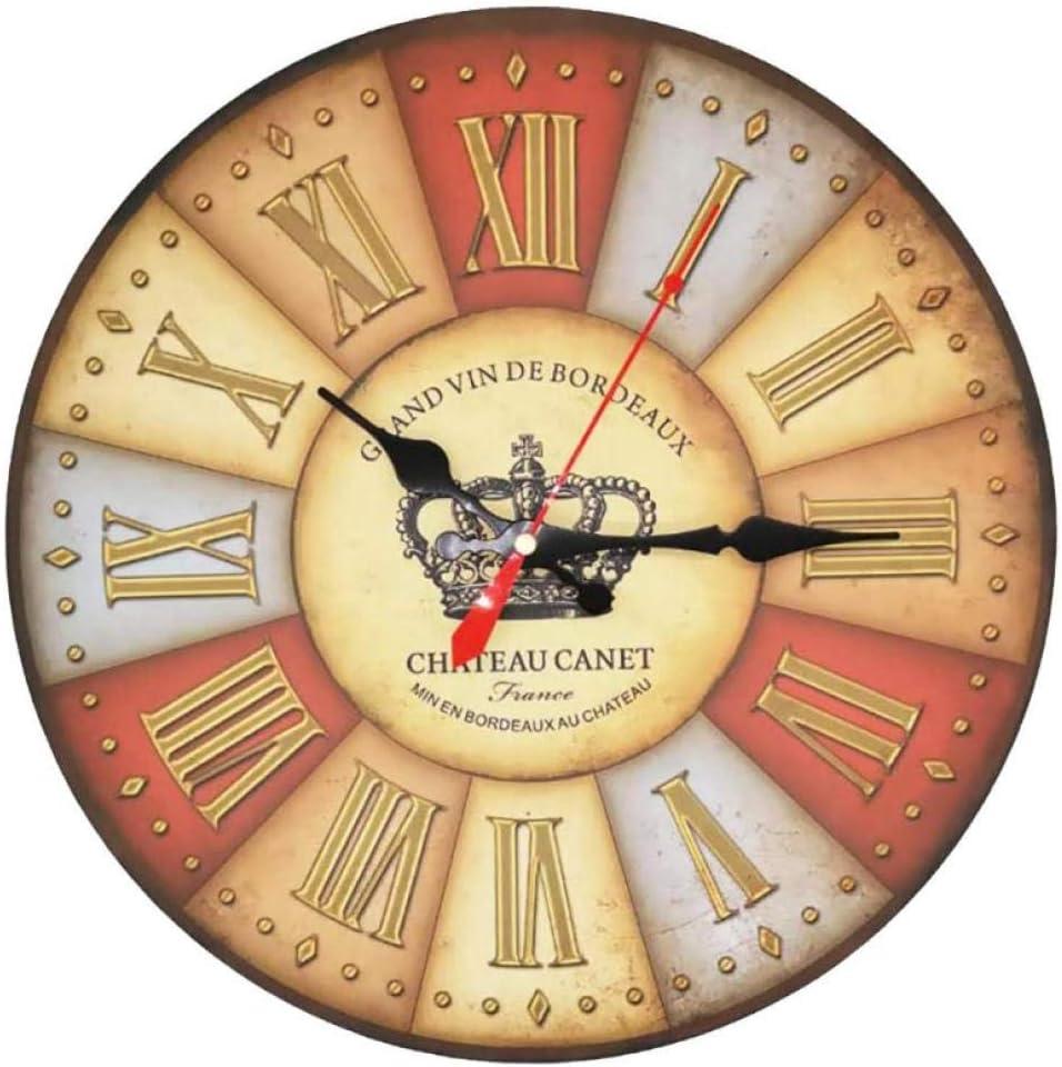 ZYZYY 12inches Reloj de Pared de Madera silencioso Retro Quartz Large Vintage Rústico Shabby Colorful Old-Ticking Old Town Crown números Romanos