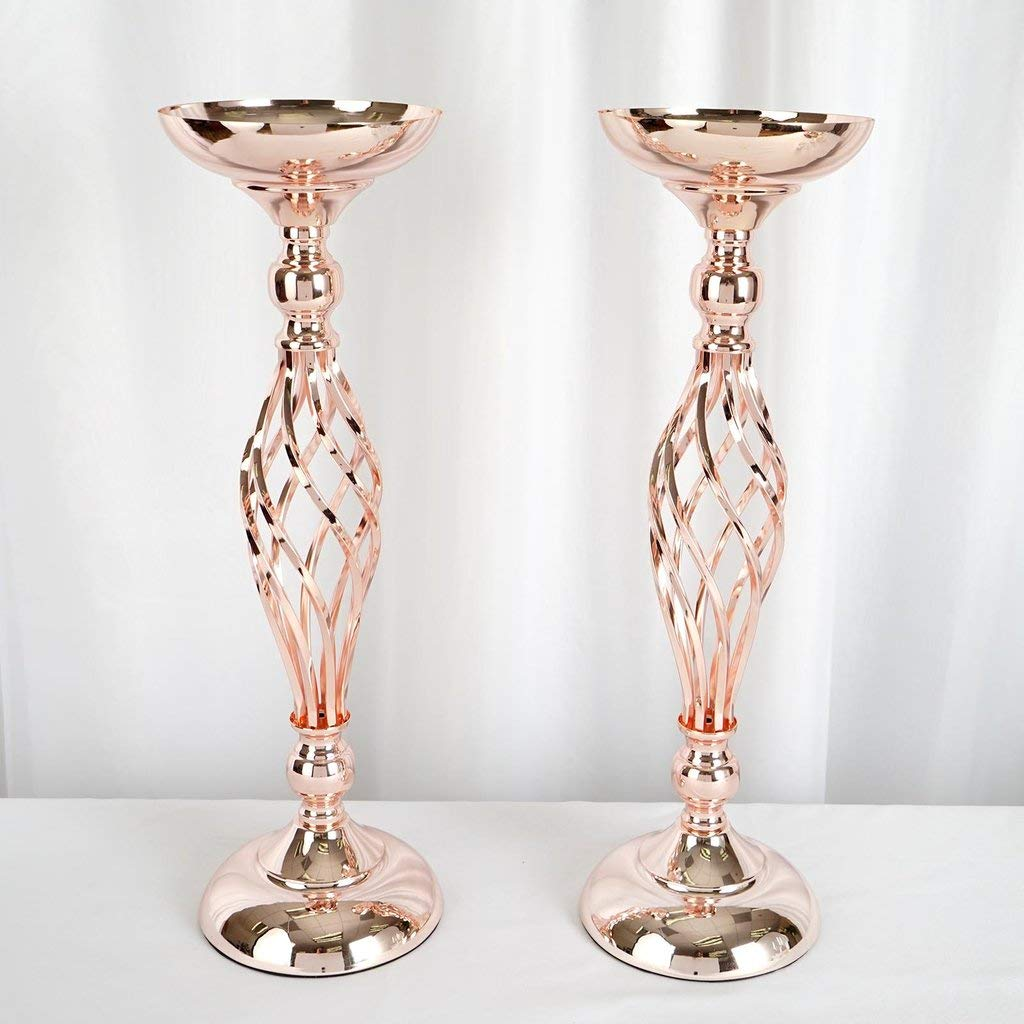 BalsaCircle 2 pcs 24-Inch Tall Rose Gold Metal Candle Holder Vase - Wedding Reception Dining Table Home Centerpieces Decorations