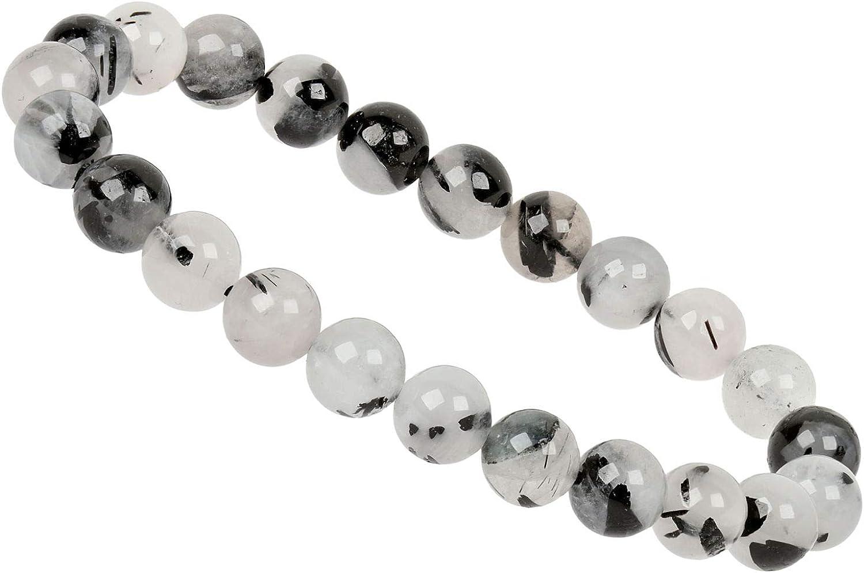 ELEDORO PowerBead - Pulsera de Perlas para Mujer de Piedras Preciosas, 8 mm, 17-18 cm