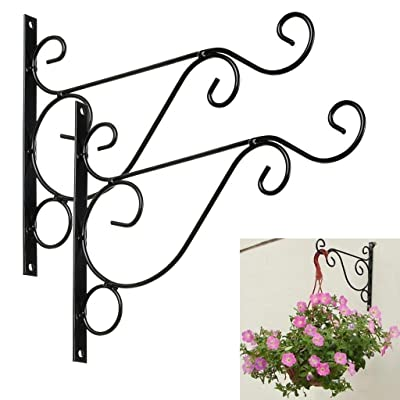 "Susuntas 2Pcs Metal Plant Hanging Bracket Hook 10"" Wall Planter Hook Hangers For Hanging Bird Feeders, Lanterns, Planters, Wind Chimes, Outdoor lamp, Ornaments : Garden & Outdoor"