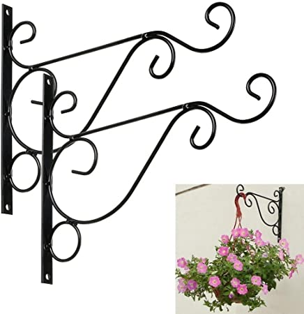 2PCS Large Wall Hanging Mount Basket Bracket Plant Hook for Garden Basket New