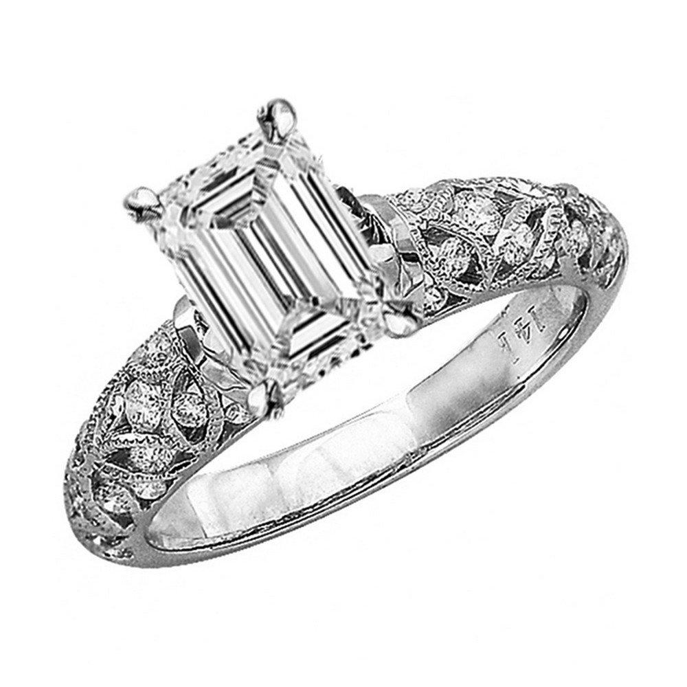 1.23 Ctw 14K White Gold Vintage Style Channel Set Filigree Engagement Ring w/ Emerald 0.75 Carat Forever One Moissanite Center