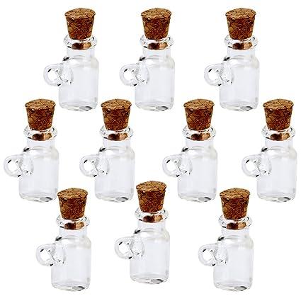 Las Mini Tarros De Botellas De Vidrio Viales Deseen Colgante Botella Con Tapón De Corcho 10pcs