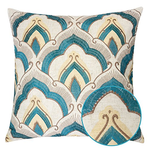 Homey Cozy Embroidered Linen Throw Pillow Cover, Raybrook Tan and Teal Floral Decorative Square Couch Cushion Pillow Case 20 x 20 Inch, Cover Only