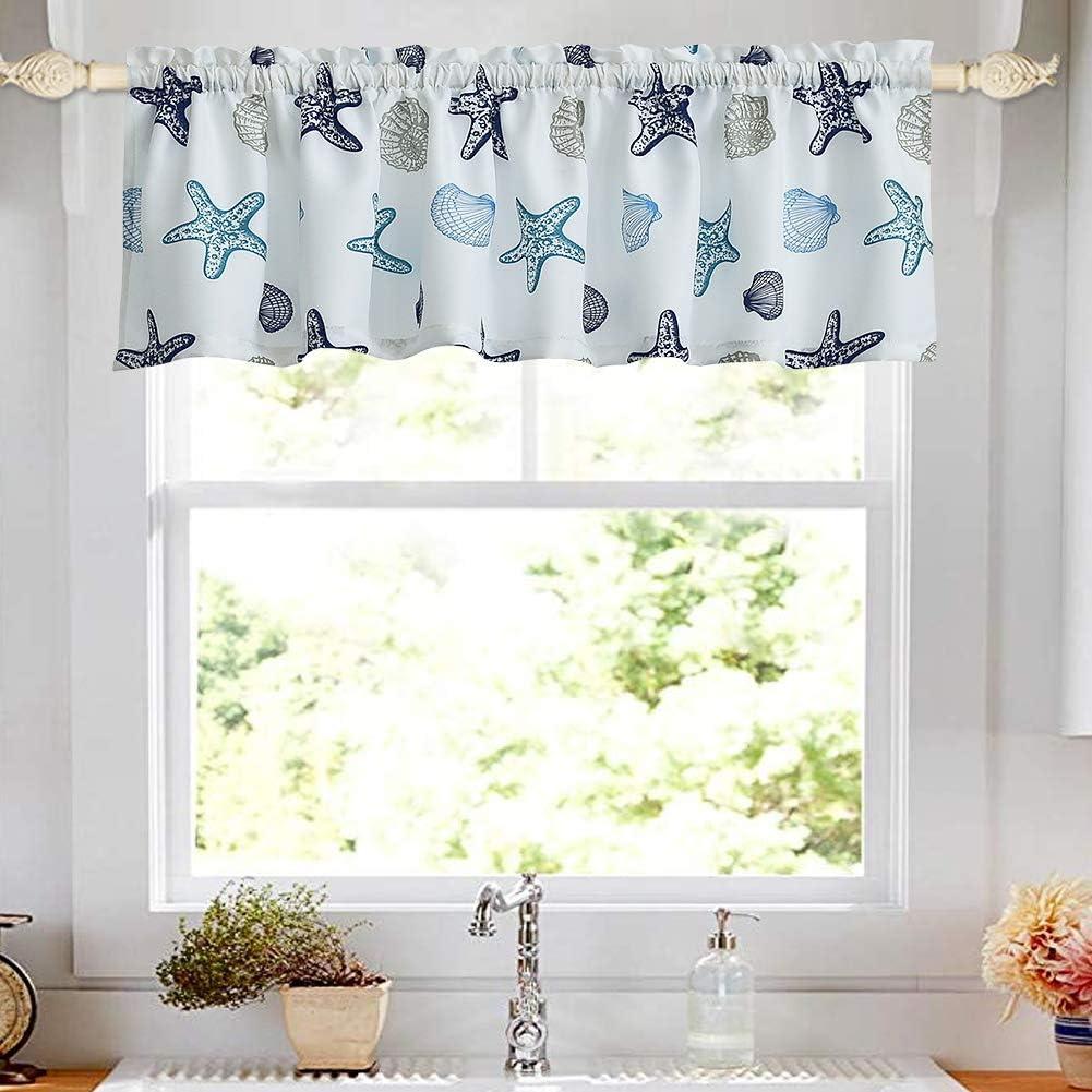 Amazon Com Oremila Kitchen Curtain Valance 54 X 15 Multicolor Starfish Seashell Conch Window Valance For Kitchen And Bathroom Rod Pocket Blue Kitchen Dining