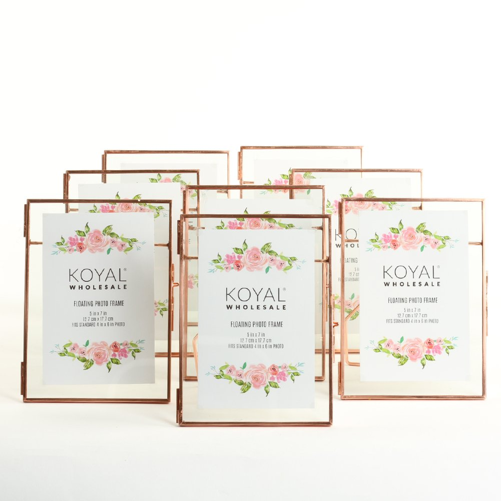 Koyal Wholesale Pressed Glass Floating Photo Frames 8-Pack with Stands for Horizontal or Vertical Pictures, Table Numbers, Place Cards (Rose Gold, 5 x 7)