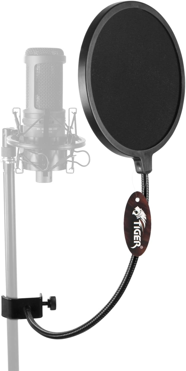 Table Mounting Clamp /& Black Pop Filter Tiger Black Microphone Suspension Boom Scissor Arm Stand Including Mic Clip