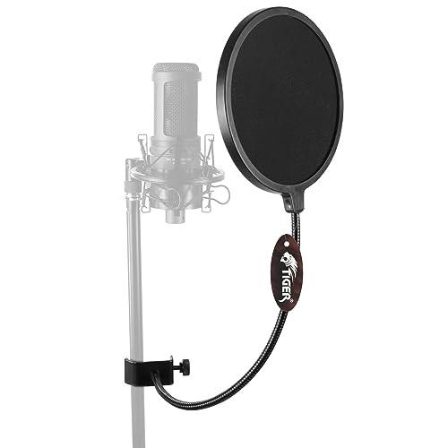 Tiger Pop Filter - Large Studio Microphone Wind Screen - with 360 Degree Flexible Gooseneck