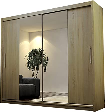Alter GM Moderno Armario Espejo Puertas correderas Colgar Estante AVA 4 clóset 180 cm, Truffle Oak Without Led Lights, with Carrying Service: Amazon.es: Hogar