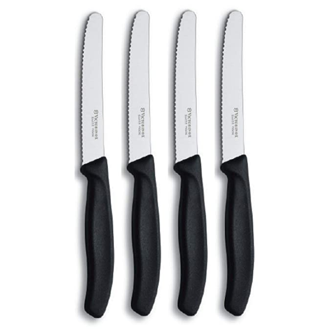 Victorinox Swiss Army Cutlery Swiss Classic Serrated Steak Knife Set, Round-tip, 4.5-Inch, 4-Piece