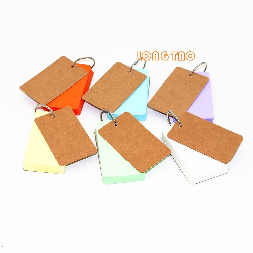 LONG TAO Pack of 6 Binder Ring Easy Flip Flash Cards Study Cards, 50 Unruled Blank Pages(6 Colours)