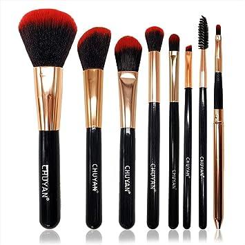 set de brochas para maquillaje Juego completo de tubo de almacenamiento de pinceles de maquillaje para principiantes, 8 fibras negras y rojas hechas por el hombre: Amazon.es: Belleza