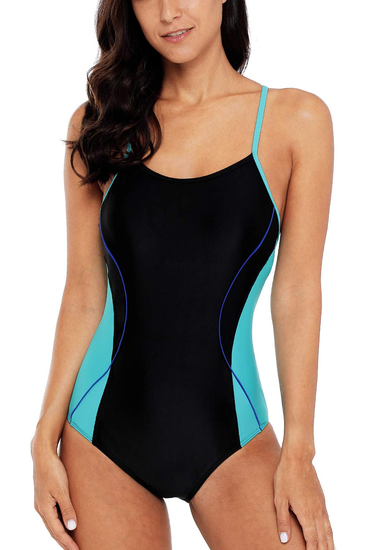 CharmLeaks Womens Sports Bathing Suit Athletic one Piece Swimwear Lap Training Swimsuits Black/Aqua