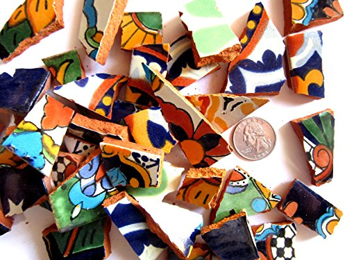 Mosaic Eye (40 Small Pieces of Colorful Mexican Broken Ceramic Pieces, Multicolored Mosaic Tiles)