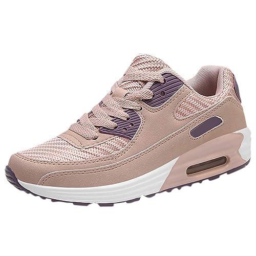 Zapatillas de Deporte Comfort Creepers con Cordones Cojín de Aire Zapatillas Mocasines para Mujer Zapatos de Cuero sin Cordones: Amazon.es: Zapatos y ...