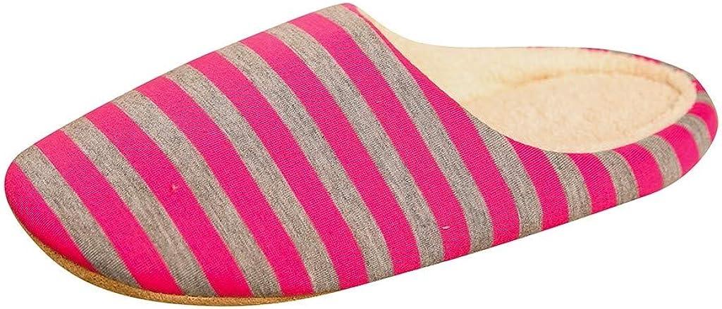 Luckycat Zapatillas de Estar por casa para Hombre Mujer Zapatillas De Estar por Casa Mujer Invierno Dibujos a Raya Antideslizante CáLido Interior Dormitorio Zapatos De Piso