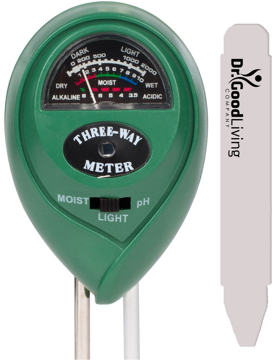 "Soil Moisture Meter, 3-in-1 ""Soil Tester"" For Home, & Garden. Soil Ph Meter, Soil Water Monitor, Soil Light Sensor. Plus A 5'' Pot Label. No Batteries. Great For Gardening, Farming, Indoor, Outdoor"