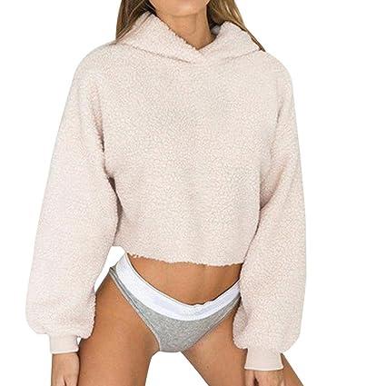 ZHRUI Sudadera con Capucha para Mujer Warm Crop Fleece Sudadera Casual (Color : Beige,