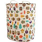 shiYsRL Cartoon Owl Cotton Large Capacity Toys Clothes Laundry Organizer Storage Basket