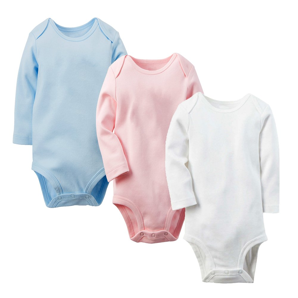 Enfants Chéris Unisex Baby 3 Pack Long Sleeve Bodysuit Cotton Onesies