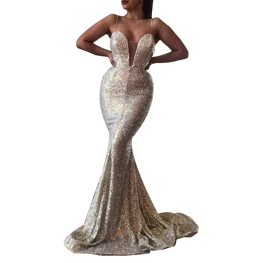 Women's Sequins Mermaid Prom Dress,Spaghetti Straps Deep V Neck Backless Gowns Wedding Evening Maxi Floor Length Dress (Silver, S) by Hotcl_🌸 Clearance Women Dress