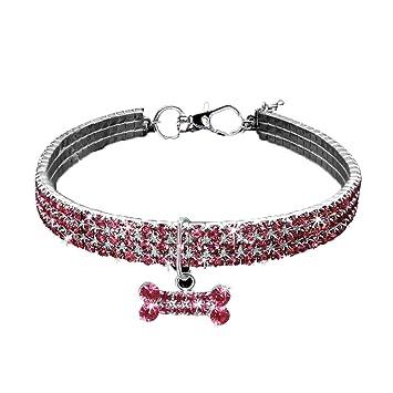 NaiCasy Fantasía Rhinestone Collar para Perro Personalizado Collar Hermoso Collar con Forma de Hueso Colgante Rosa