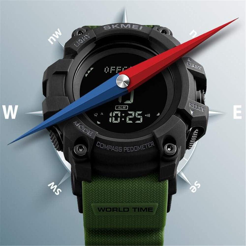 Orologio alla moda/Orologio con pedometro bussola/Orologio elettronico impermeabile per il conto alla rovescia multifunzione maschile Green