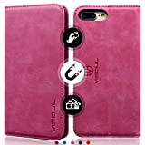 iPhone 8 Plus Wallet Case - iPhone 7 Plus Case - VISOUL Genuine Leather Luxury Classic Folio Case Book Design with Stand and 3 Card Slots - Magnetic Closure Case for iPhone 8 Plus 7 Plus( Rose Red )