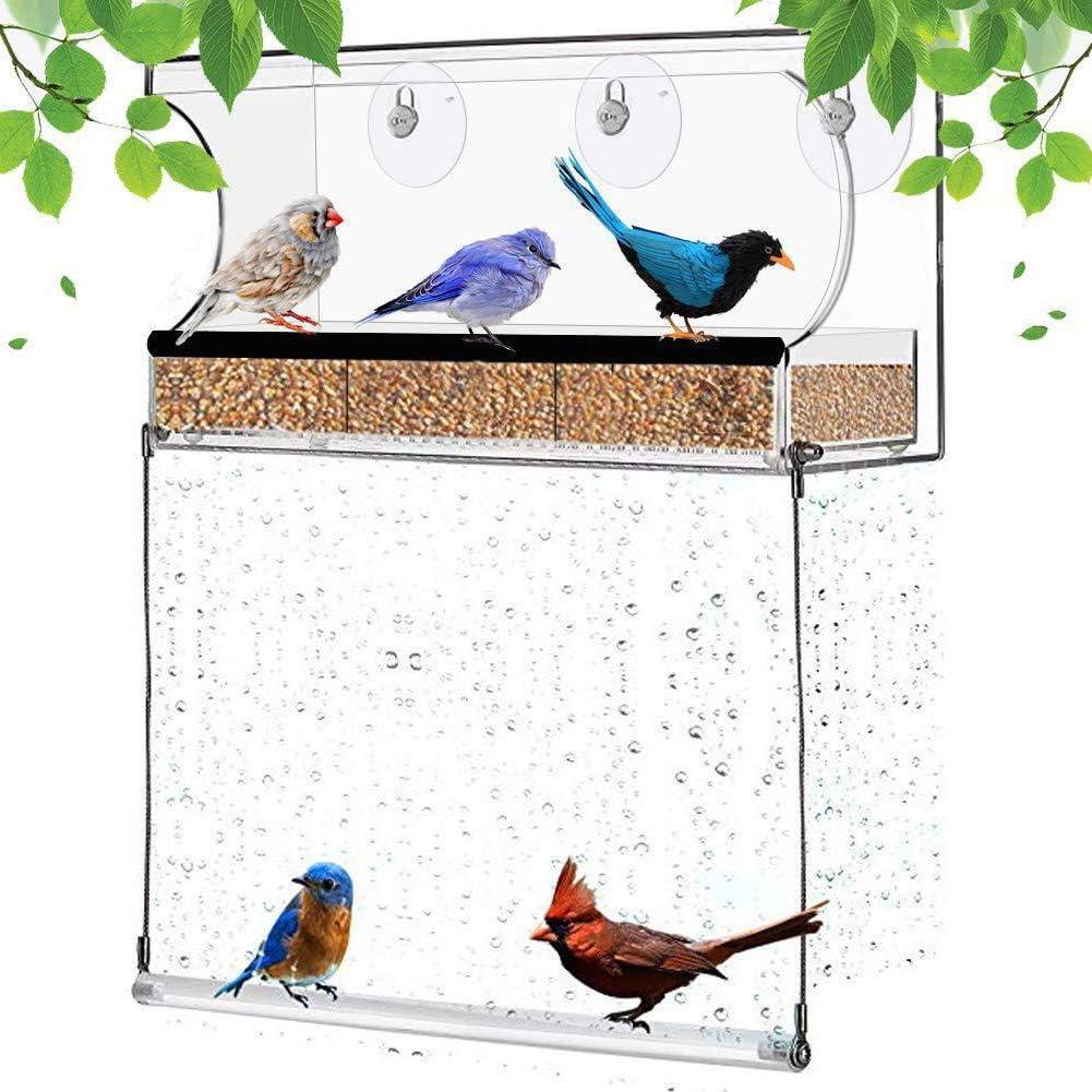 Amadon Comedero para Pájaros con Ventana Colgante - Comedero para Pájaros con Ventana con Diseño De Ventosas para Observación Clara De Aves, Casa Exterior para Pájaros Pequeños