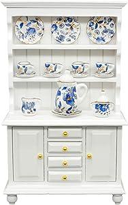 SAMCAMI Miniature Dollhouse Furniture Kitchen Set - Kitchen Cabinet Cupboards and Tea Set – 1 12 Scale Dollhouse Accessories